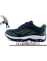 Axcer Hombre Zapatillas de Seguridad con Puntera de Acero Antideslizante S1P Zapatos de Trabajo Comodas Calzado de Trabajo Deportivos Botas de Protección Industria Construcción