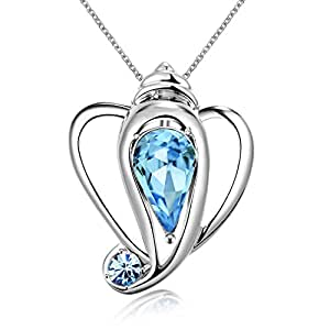 Swarovski Elements Auspicious Ganesha Designer Crystal Pendant for Women and Girls by YELLOW CHIMES (BLUE)