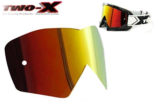 TWO-X Race Spiegelglas rot gelb Ersatzglas verspiegelt