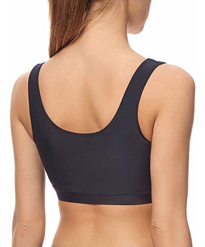 Merry Style Donne Superiore Sport Bikini Modello S1LL Nero/Neon Arancione (2154)