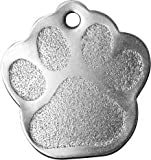 Bow Wow Meow mit Personalisierung Hundemarke Pfote aus Edelstahl (Groß) | GRAVURSERVICE | Lasergravierte, Personalisierte Haustiermarke