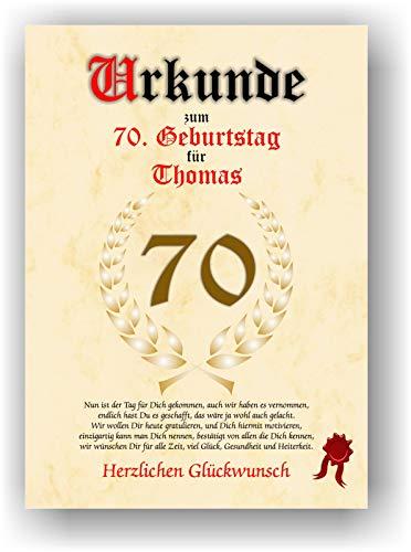 Urkunde zum 70. Geburtstag - Glückwunsch Geschenkurkunde personalisiertes Geschenk Gedicht Grußkarte Geschenkidee mit Spruch DIN A4