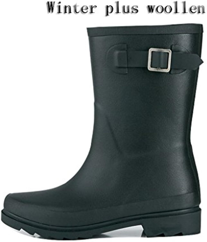 Wasserdichte Regen Stiefel der Frauen erwachsene Art  und weisse rutschfeste Gummiregen Schuhe fuumlr Fruumlhlings Sommer Winter
