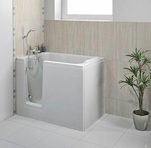 Sitzbadewanne mit Tür, Seniorenbadewanne 121x65cm mit Wannenschürze und Ablauf/Sifon, Ausführung Links