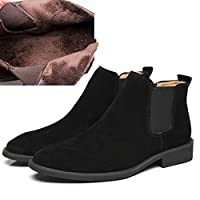 DADIJIER Casual Ankle Boots for Men Chelsea Boot Pull on Suede Pointed Toe Block Heel Elastic Sides Anti-slip(Fleece Lined Optional) Durable (Color : Black(Fleece Inside), Size : 41 EU)