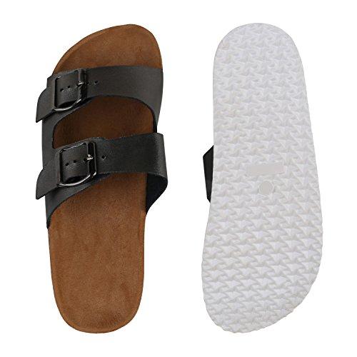 Bequeme Damen Sandalen | Zehentrenner Glitzer Metallic | Komfort-Sandalen Kork | Bequemschuhe | Strandschuhe Schnallen Grau Schnallen