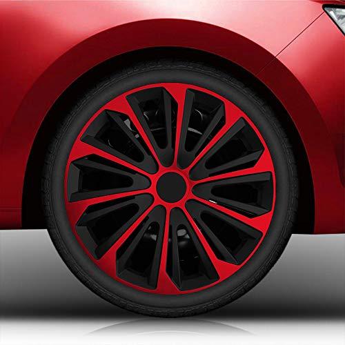 Autoteppich Stylers Aktion Bundle 16 Zoll Radkappen/Radzierblenden Nr.006 (Farbe Schwarz-Rot), passend für Fast alle Fahrzeugtypen (universal)