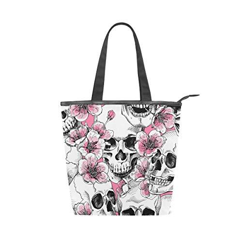 Jeansame Canvas Tote Bag Damen Shopper Top Griff Taschen Schultertaschen mit Reißverschluss Totenkopf Halloween Blumen Herbst Herbst - Blumen-zwei Tote Tasche