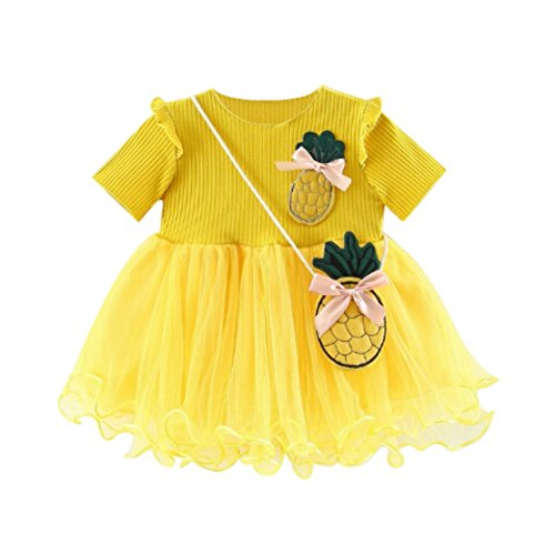 Gyratedream Sommer Baby Mädchen Kurzarm Prinzessin Kleid mit Ananas Form Tasche Patchwork Sommerkleid 2 Stück 0-3 Jahre