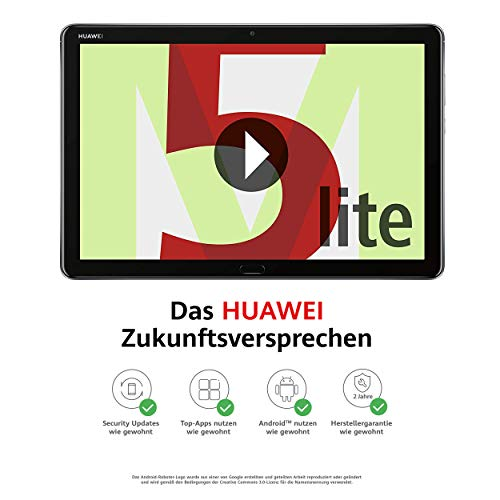 Huawei MediaPad M5 lite WiFi Tablet-PC 25,6 cm (10,1 Zoll), Full HD, Kirin 659, 3 GB RAM, 32 GB interner Speicher, Android 8.0, EMUI 8.0, grau - 4 Co Klingen