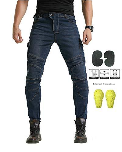 GELing Uomo Moto Biker Jeans Rinforzato Protezione Pantaloni Includono Armature Motorcycle Pants,Blu,3XL