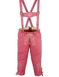 Damen Trachten Kniebundhose Jeans Hose kostüme mit Hosenträgern Pink