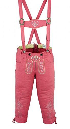 Oktoberfest Damen Kostüm (Damen Trachten Kniebundhose Jeans Hose kostüme mit Hosenträgern Pink,)