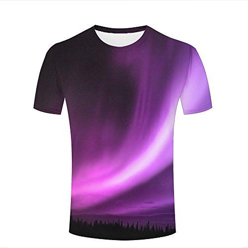 Herren 3D Print Amazing Purple Aurora Graphic Summer Casual Short Sleeve T Shirts Fashion Couple Tees S
