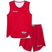 Spalding - Camiseta de baloncesto para adultos, color Rojo/Blanco, talla S