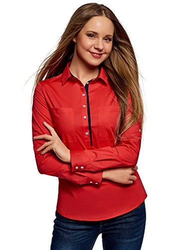 oodji Ultra Damen Tailliertes Hemd mit Brusttaschen, Rot, DE 36 / EU 38 / S