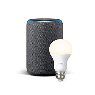 Echo Plus (2nd Gen), Charcoal Fabric + Philips Hue White bulb E27 (B07H3NY1H6) | Amazon Products