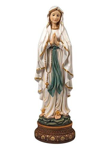 Madonna Lourdes auf Sockel * (Durchmesser Sockel 18,5 cm) *