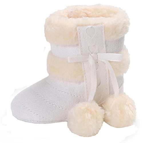 VENMO Nette Mädchen Weiche Sohle Schneeschuhe Weiche Krippe Schuhe Stiefel Halten Sie warme Schneestiefel Schuhe Stiefel Baby Schuhe Winter Sohlen Lauflernschuhe Anti-Rutsch (Age:12~18 Month, White)