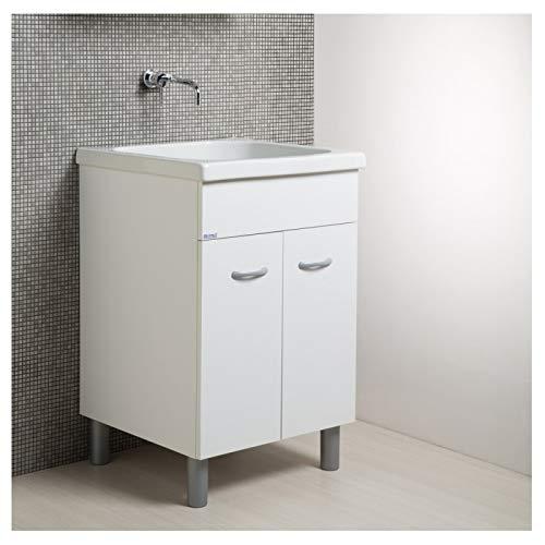Mobile lavatoio con vasca in ceramica e strofinatoio integrato 60 x 60 bianco