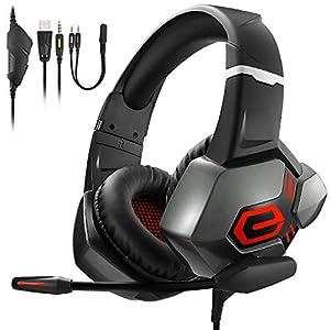 PS4 Headset ,TENSWALL Gaming Headset mit Rot LED Licht Surround Sound Rauschunterdrückung Gaming Kopfhörer für Xbox One, PC
