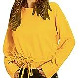 UFACE Mode Damen Frauen Rundhals Lange Volltonfarbe Spleiß Blusen Oberseiten Kleidung T-Shirt Tops Pullover Leichte Carld Castingpartner Über Ana Motorsport