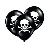 Pack of 6 Black Skull Pirate Themed Party Latex Balloons - Coord with other Halloween Supplies, Confetti, Banners etc or Pirate Supplies - Perfect for a Kids Pirate Fancy Dress Party, Halloween Fancy Dress Party, Little Boy