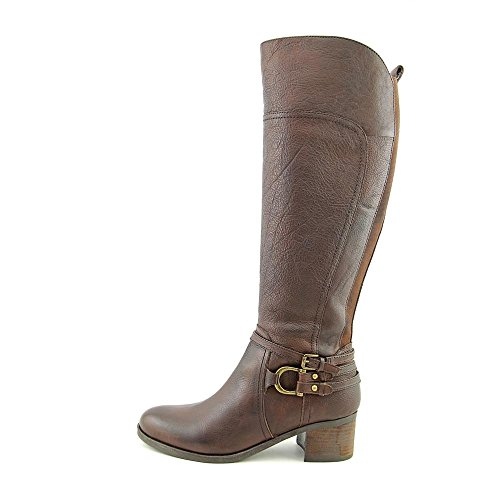 Marc Fisher Kierra Rund Leder Mode-Knie hoch Stiefel Dark Brown