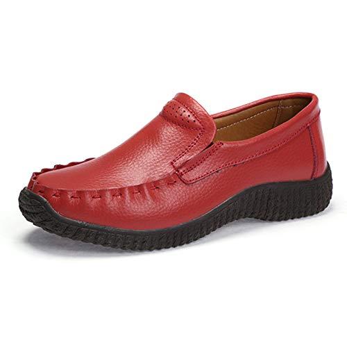 Frauen Penny Loafer Schuhe Round Toe Slip auf Pu-Leder Komfortable rutschfeste Outdoor-Wohnungen Schuhe -