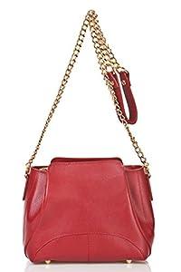 italienische Damen Umhängetasche Turin aus echtem Leder in wein rot, Made in Italy, Handtasche 22x18cm