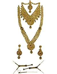 Shree Mauli Creation Golden Alloy Golden Stone Drop Bridal Necklace Set For Women SMCN1005