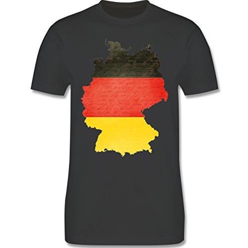 EM 2016 - Frankreich - Deutschland Karte - Herren Premium T-Shirt Dunkelgrau