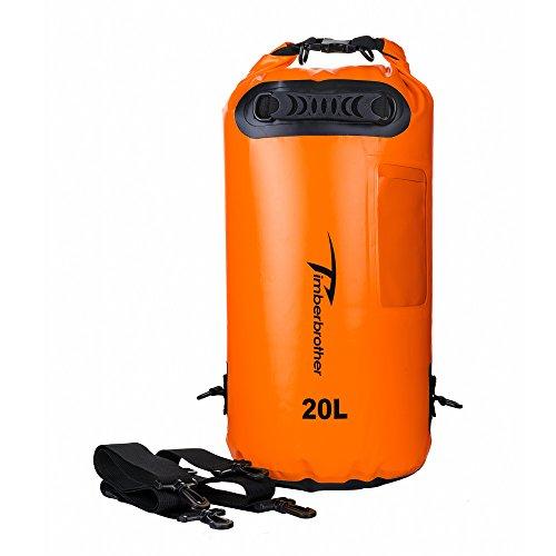 Timberbrother Bolsa Seca Impermeable / Bolsa Estanca con ventana para Kayak, Canotaje, Pesca, Rafting y Acampar (naranja, 20L)
