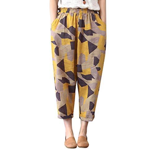 MOTOCO Damen Haremshosen böhmische Kleidung Leinen Flap Yoga leichte Damen Reithosen Größe 40-46(2XL(46),Gelb) (Dunkel Braunes Kleid Hose Frauen)