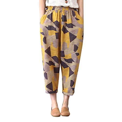 QHJ Damen Hose Frauen Baumwollleinen Gedruckte Geometrische Muster Lösen Neun Hosen Beiläufige Hosen Frauen Baumwolle Und Leinen Gedruckt Lose Neun Hosen Freizeithosen (Gelb,L)