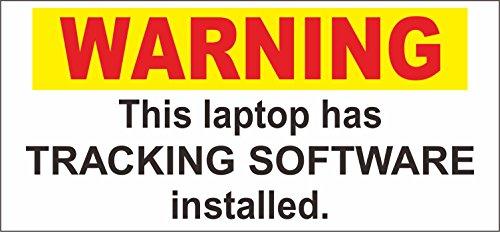 INDIGOS UG - Aufkleber - Sicherheit - Warnung - WARNING LAPTOP TRACKING SOFTWARE SECURITY STICKER - 150mm x 70mm Laptop-sicherheits-software