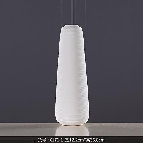 Sjzgd Startseite Weiße Keramikvase/Bodenvase/Wohnzimmer Blume/Handwerk Ornamente, 36,8 cm