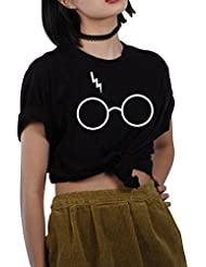 Mujeres Vidrios Impresión De La Manga Corta Camiseta Flojas Tops Camisetas Ocasionales Negro XXL