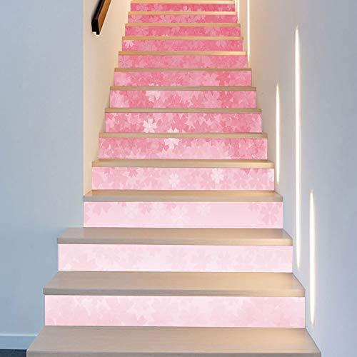 HOP 13 Stück Farbverlauf Kirschblüten Und Wind Raumdekoration Treppe Aufkleber Mode Kreative Treppe Dekoration Kunst Decor Wandtuch 18 * 100 cm ()
