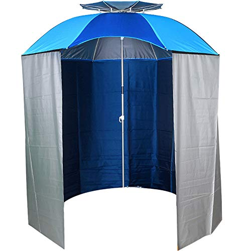 Sombrilla de Pesca portátil, sombrilla de Pesca, 2.4 M Cremallera Protección Solar Sombrilla de Lluvia Sombra Tienda de Equipo de Pesca, Protección UV, Esenciales de Playas/Pesca,Blue