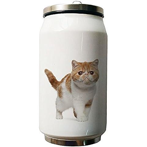 okoukiu Cute Cat Animal diseño doble vacío aislado botella de agua de acero inoxidable, 500ml