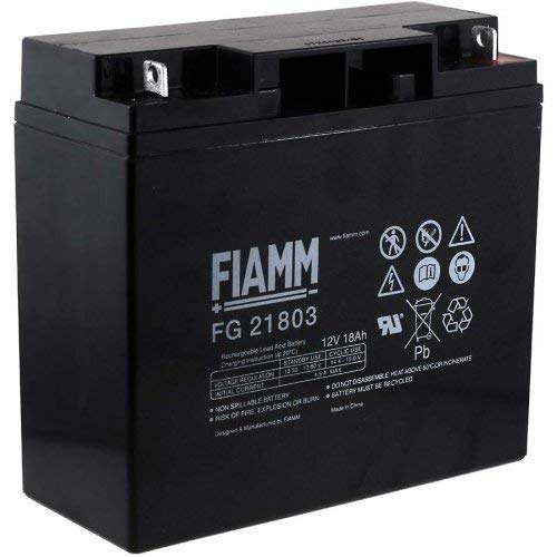 Fiamm Batteria Serie FG 12V Alimentazione di emergenza UPS Collegamento Faston 187 piatta di 4,8 mm (FG21803 Amperaggio 18 Ah)