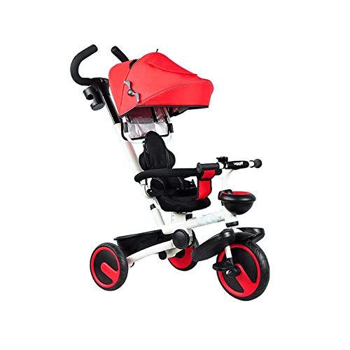 YLZT Kinderfahrrad Dreirad 1-6 Jahre alt Klappfahrrad Kinderwagen Abnehmbarer Putter Kid\'s Trike Cabrio,Rot