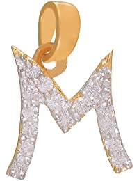 Mahi Gold Plated Majestic M Initial Pendant Made With CZ Stones for Women PS1101313G