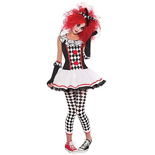 Petalum Damen Clown Kostüm Harlekin Kostüm Honey Halloween Karneval Party Fasching Witzig Kostüm Rollenspiel Kleider Set