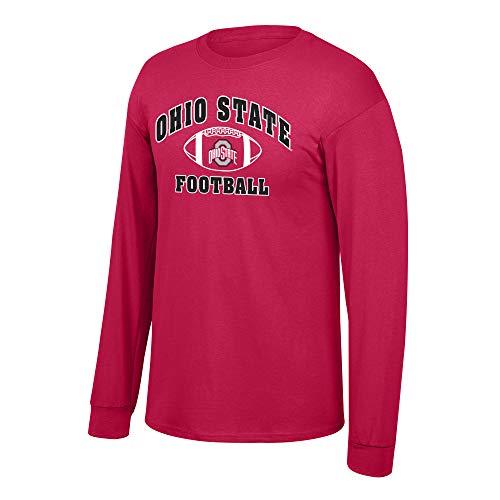 eLITe Fan Shop NCAA Fußball-T-Shirt, langärmelig, Teamfarben, Herren, NCAA Football Long Sleeve T-Shirt Team Color, Ohio State Buckeyes Red, X-Large (Ohio Football-t-shirt State)