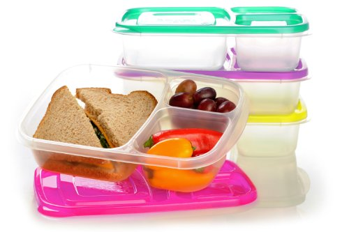 Price comparison product image EasyLunchboxes 3-Compartment Bento Lunch Box Containers,  Set of 4,  Brights