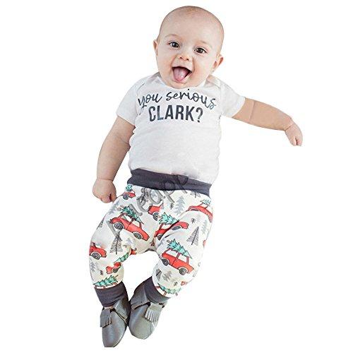 Kinderkleid Honestyi Neugeborenen Baby Mädchen Jungen Brief Strampler Tops + Hosen 2 Stücke Outfits Kleidung Set (Weiß,100)