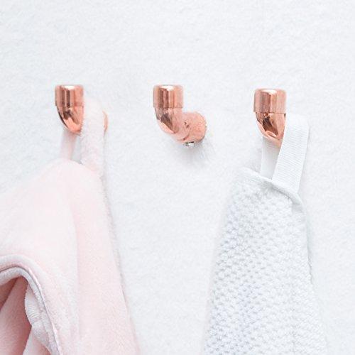 Design Kleiderhaken von rod & knot – THE COPPERHOOK aus Kupfer, Vintage, Antik, Garderobenleiste, Mantel- und Handtuchhaken für Küche oder Bad – 3 handgefertigte Haken inkl. Halterung