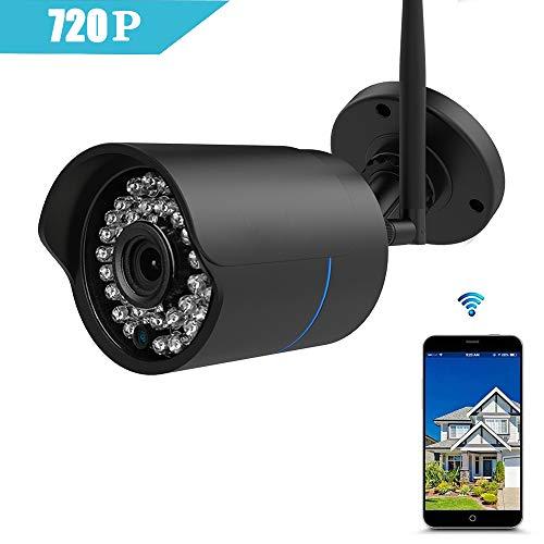 IP Kamera 720P HUAYUU Überwachungskamera für Außen Wasserdicht WLAN Kamera für Außen/IP überwachungskamera/WiFi für Outdoor/Indoor,Bewegungserkennung, Unterstützung FTP,Bis zu 128GB SD Karte-Schwarz (Wireless Outdoor Cam)